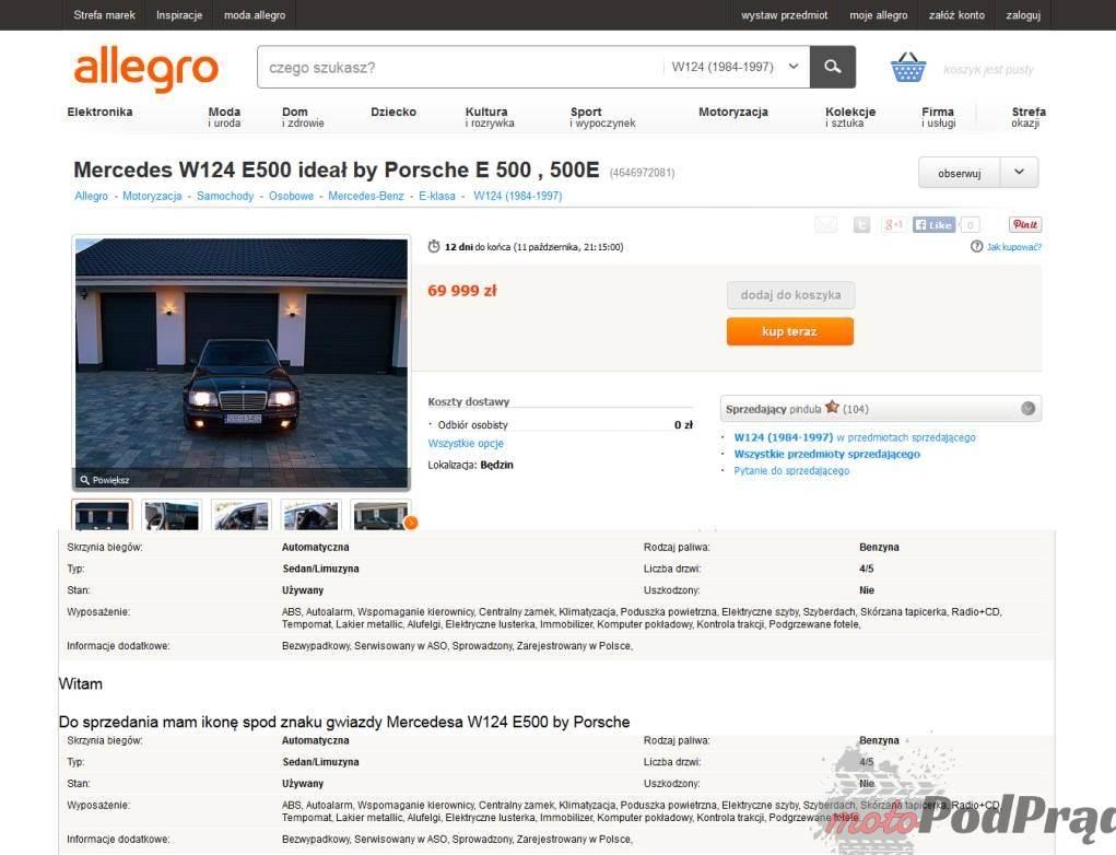1187 Znalezione: Mercedes W124 E500   Czarna Wdowa!