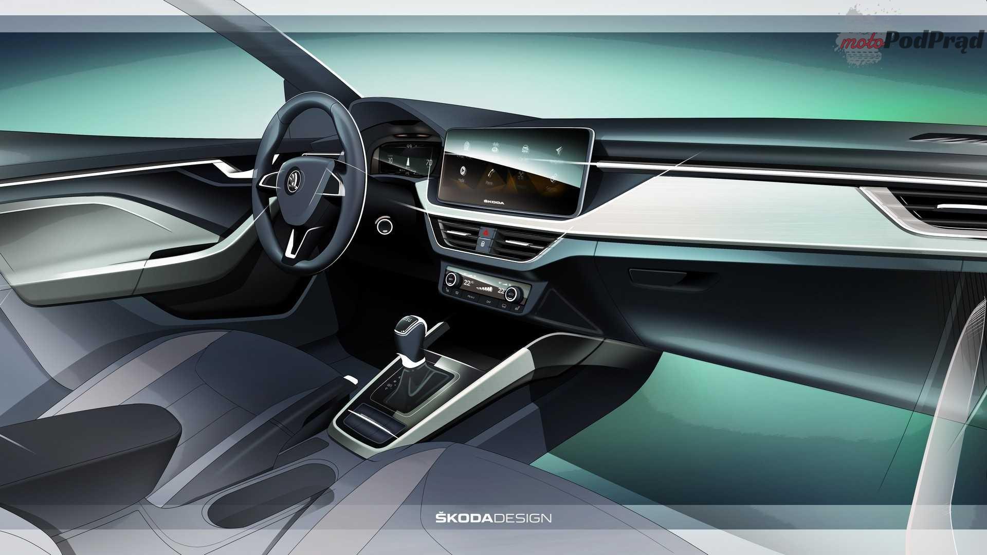 skoda scala interior design sketch Skoda Scala od środka   pierwsza grafika
