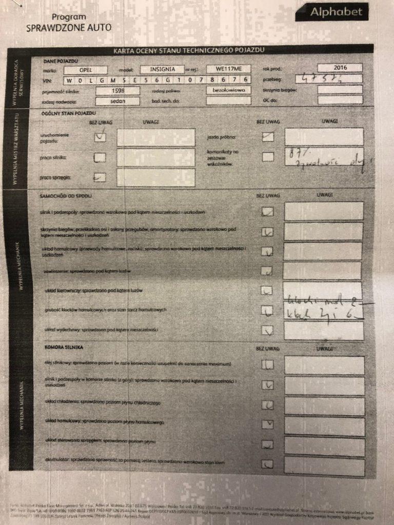 dokumenty Insognia 1 768x1024 Używane: Poleasingowy Opel Insignia 1.6 T 170 KM z przebiegiem 50 000 km cz. 1