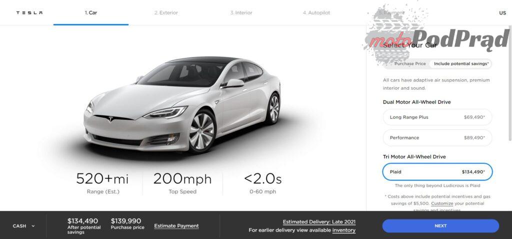 teslaS 1024x479 Tesla Model S Plaid   od 0 do 100 w 2s!